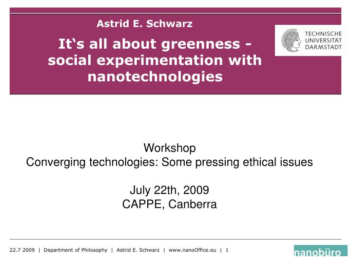 it s all about greenness social experimentation with nanotechnologies n.