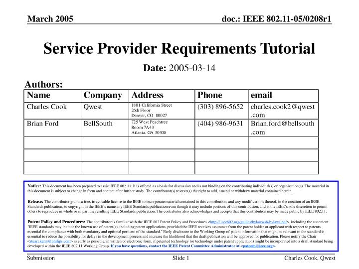 service provider requirements tutorial n.