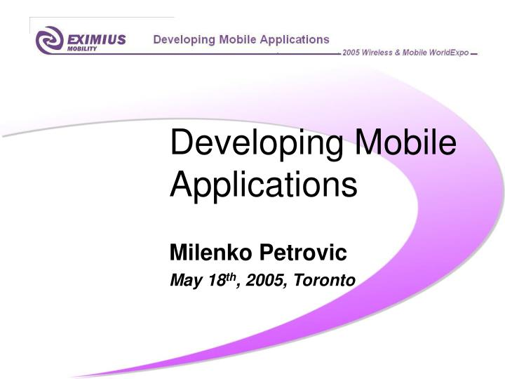 developing mobile applications n.