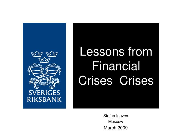 lessons from financial crises crises n.