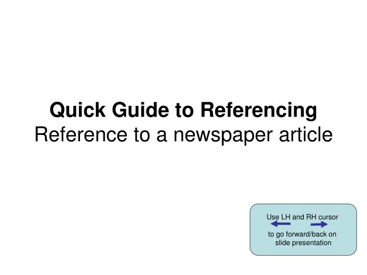 quick guide to referencing reference to a newspaper article n.