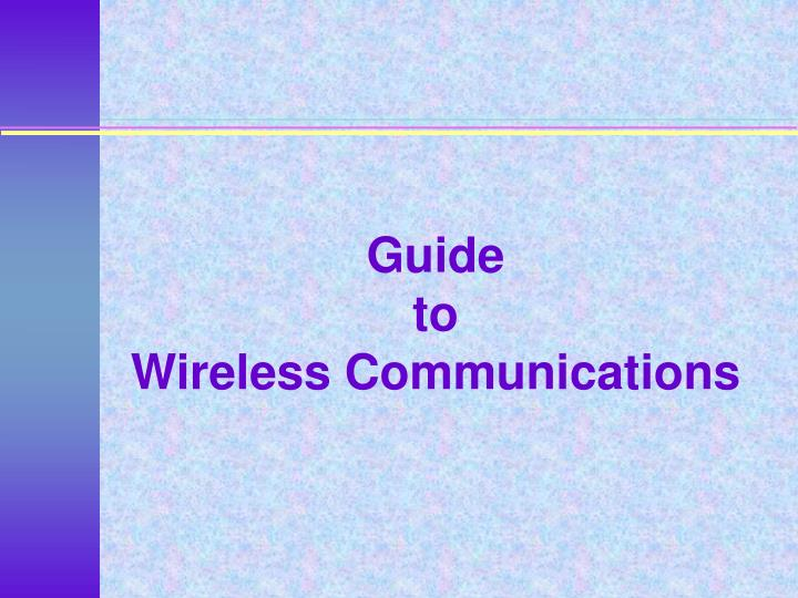 guide to wireless communications n.