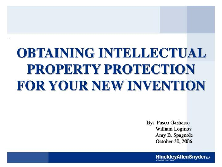 obtaining intellectual property protection for your new invention n.