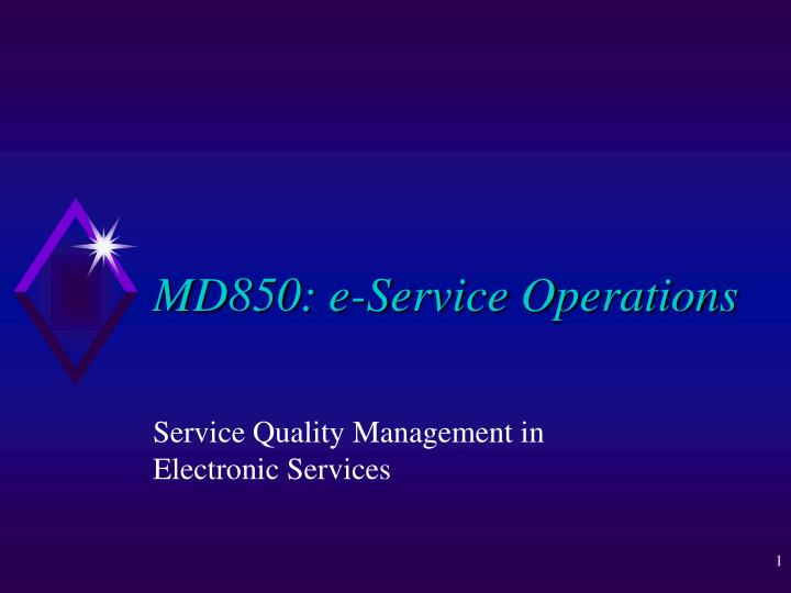 md850 e service operations n.
