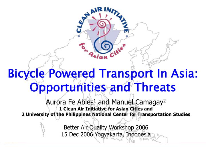 bicycle powered transport in asia opportunities and threats n.