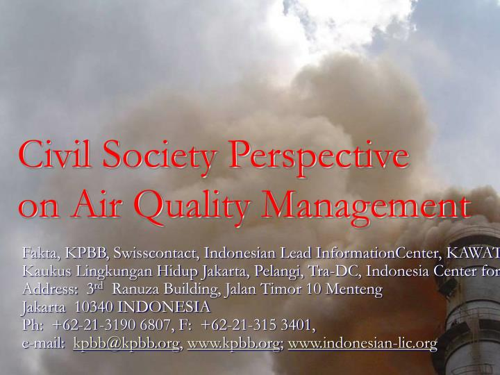 civil society perspective on air quality management n.