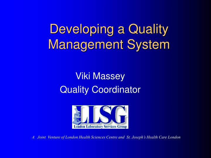 developing a quality management system n.