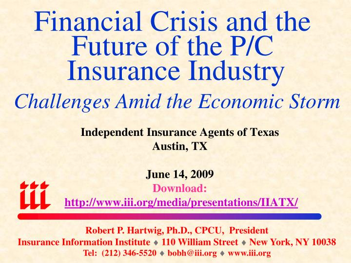 financial crisis and the future of the p c insurance industry challenges amid the economic storm n.