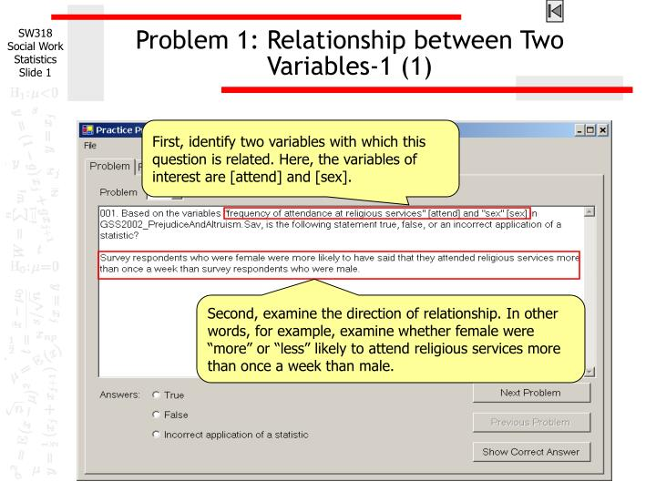 problem 1 relationship between two variables 1 1 n.