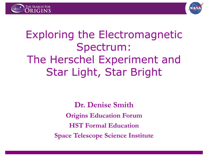 exploring the electromagnetic spectrum the herschel experiment and star light star bright n.