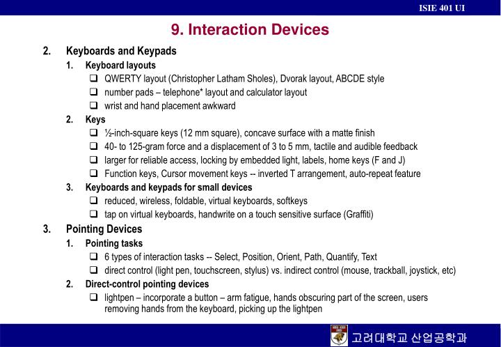 9 interaction devices n.