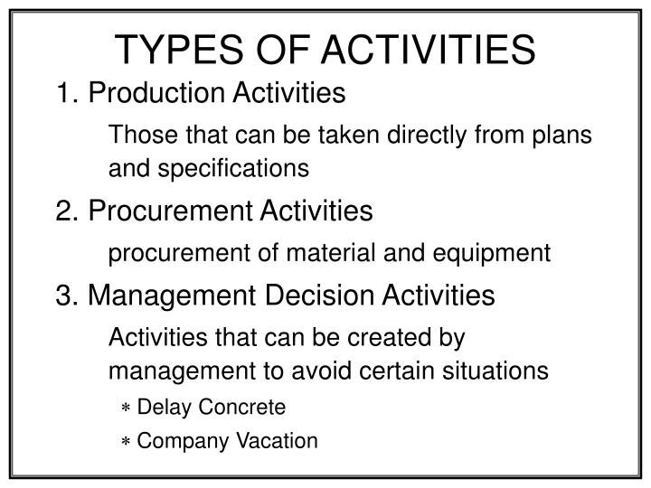 types of activities n.