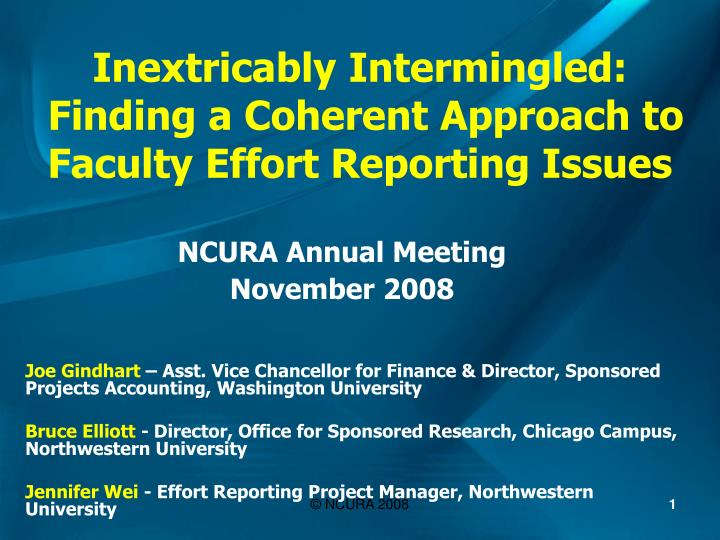 inextricably intermingled finding a coherent approach to faculty effort reporting issues n.