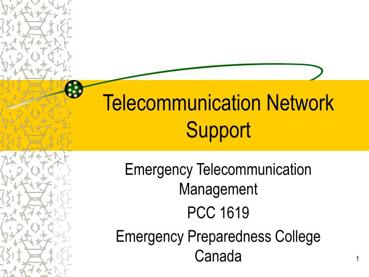 telecommunication network support n.