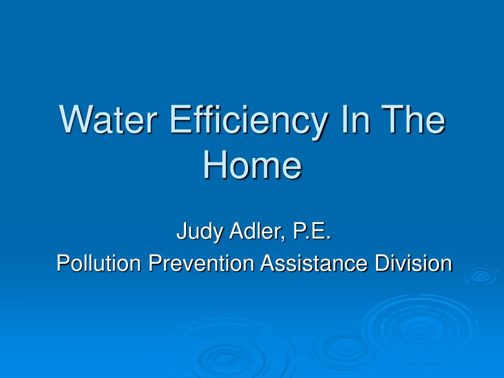 water efficiency in the home l.