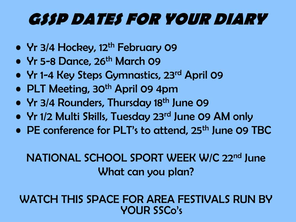 gssp dates for your diary l.