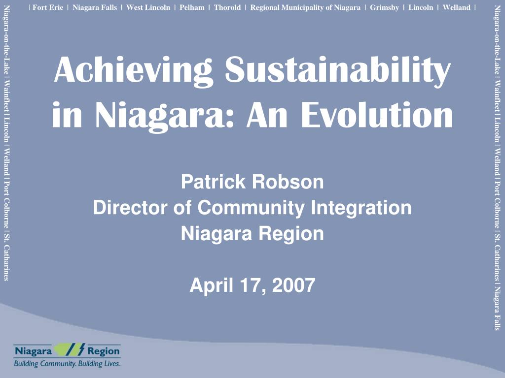 achieving sustainability in niagara an evolution l.