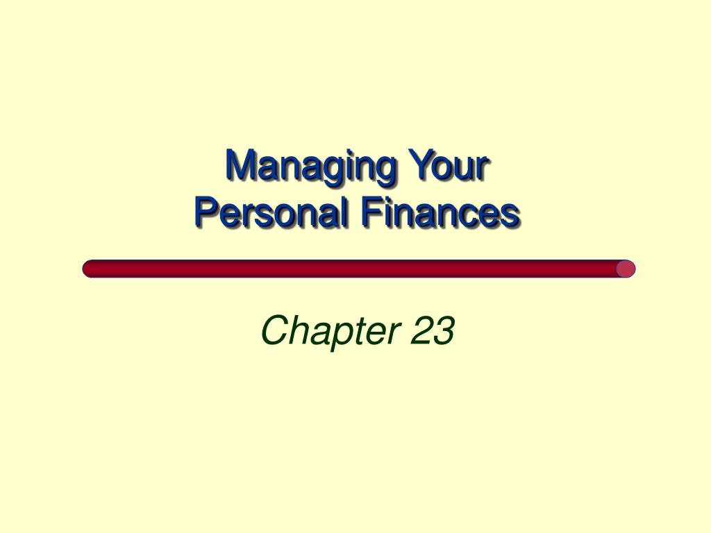 managing your personal finances l.