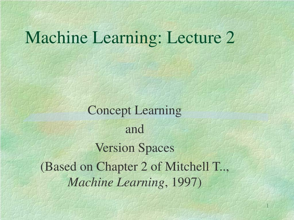 machine learning lecture 2 l.