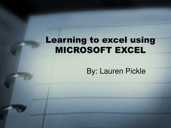 learning to excel using microsoft excel n.