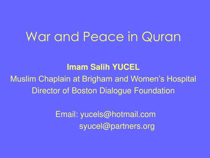 war and peace in quran n.