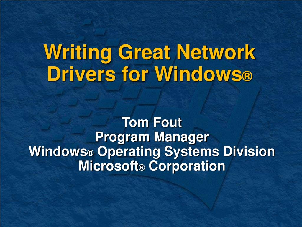 writing great network drivers for windows l.