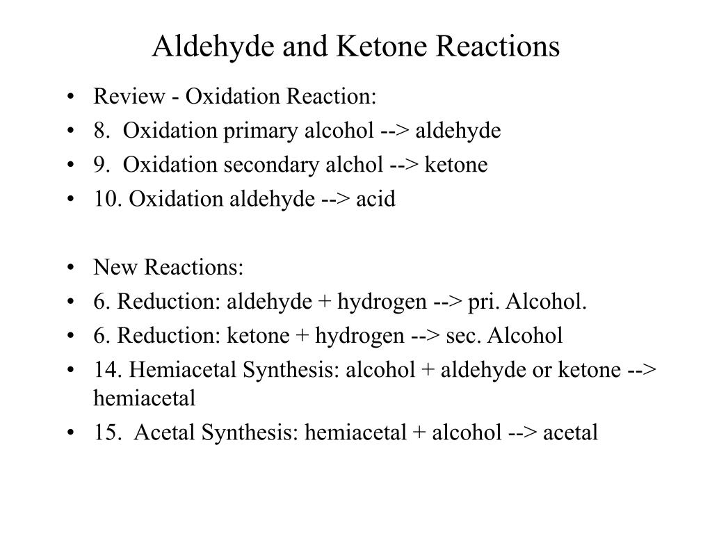 aldehyde and ketone reactions l.