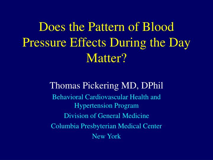 does the pattern of blood pressure effects during the day matter n.