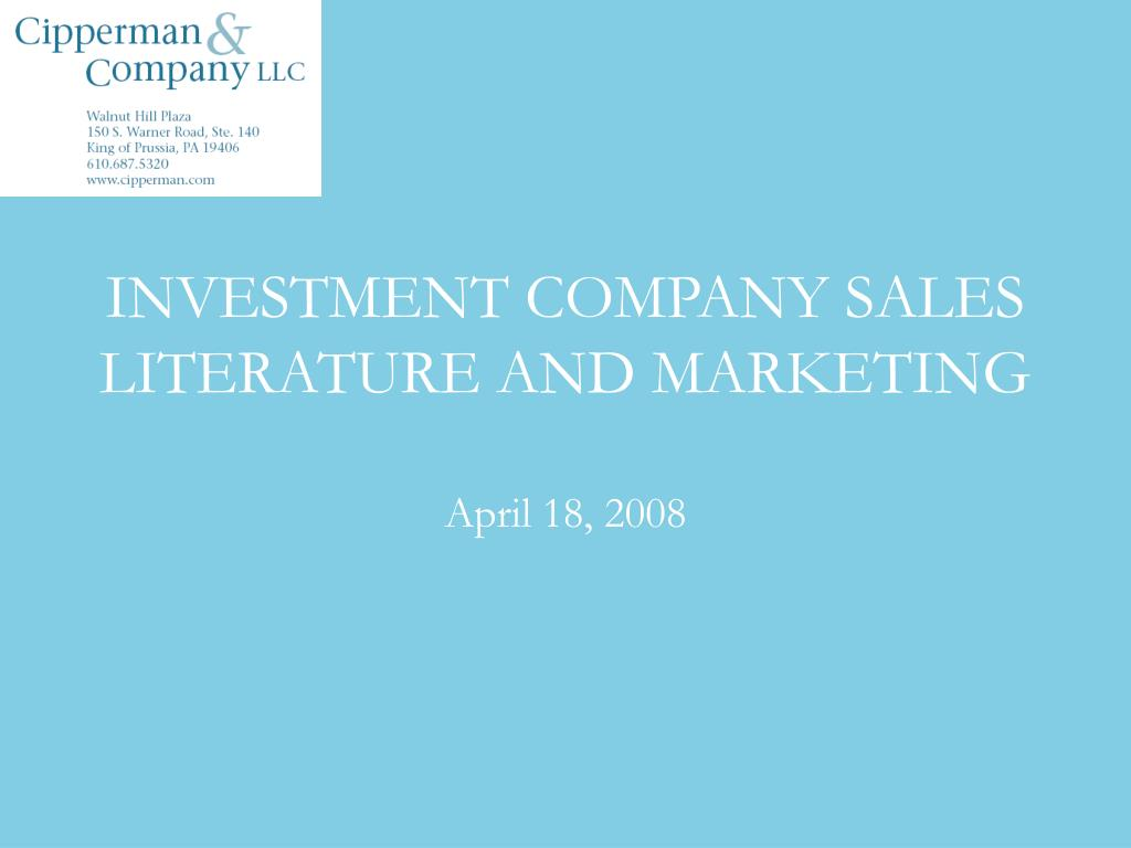 investment company sales literature and marketing l.