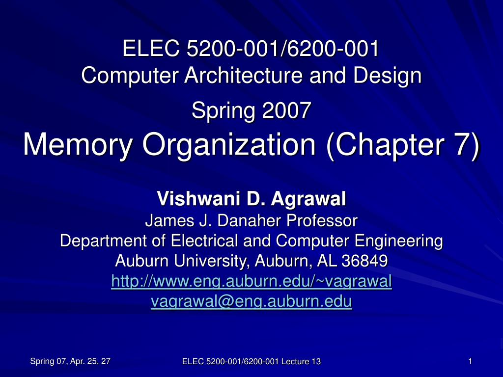 Ppt Elec 5200 001 6200 001 Pc Engineering And Outline Spring 2007 Memory Association Section 7 Powerpoint Presentation 60946