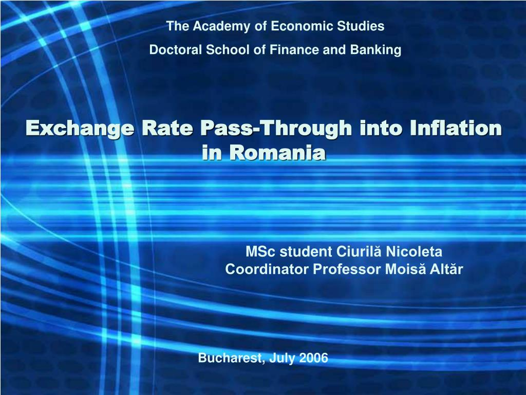 exchange rate pass through into inflation in romania l.