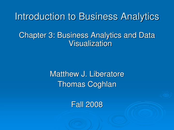 introduction to business analytics n.