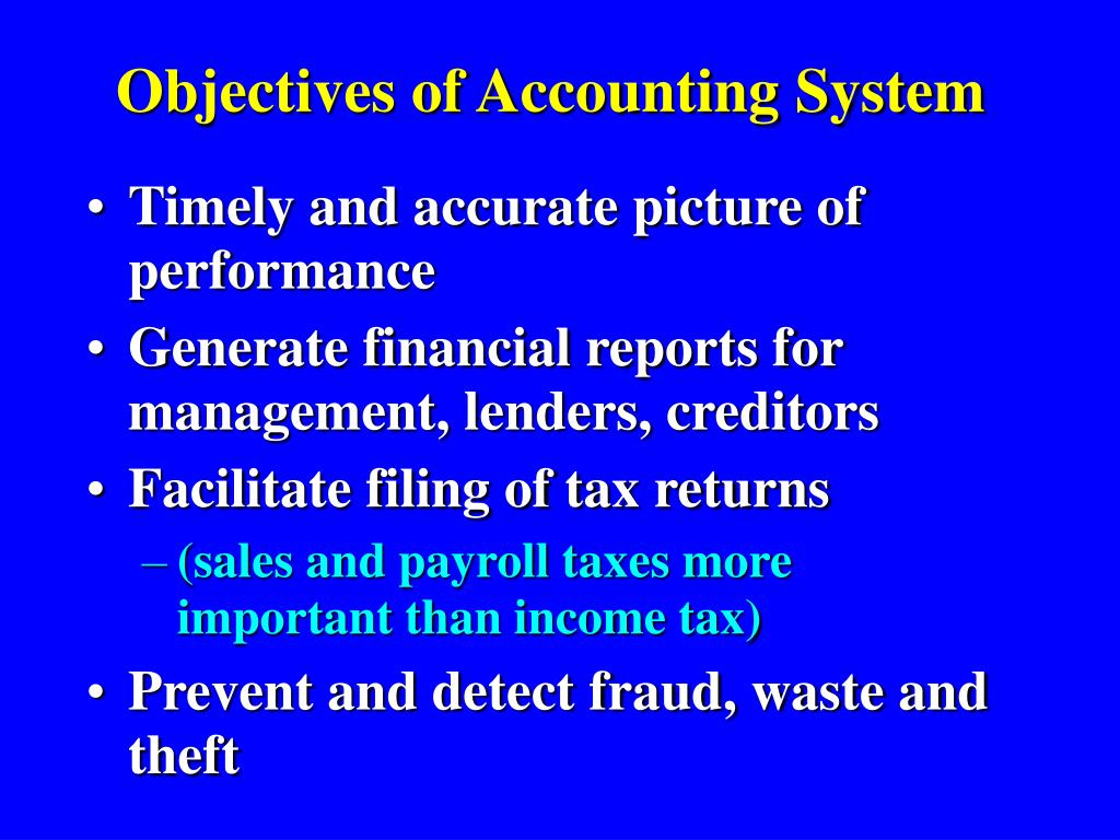 objectives of accounting system l.