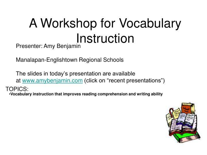 a workshop for vocabulary instruction n.