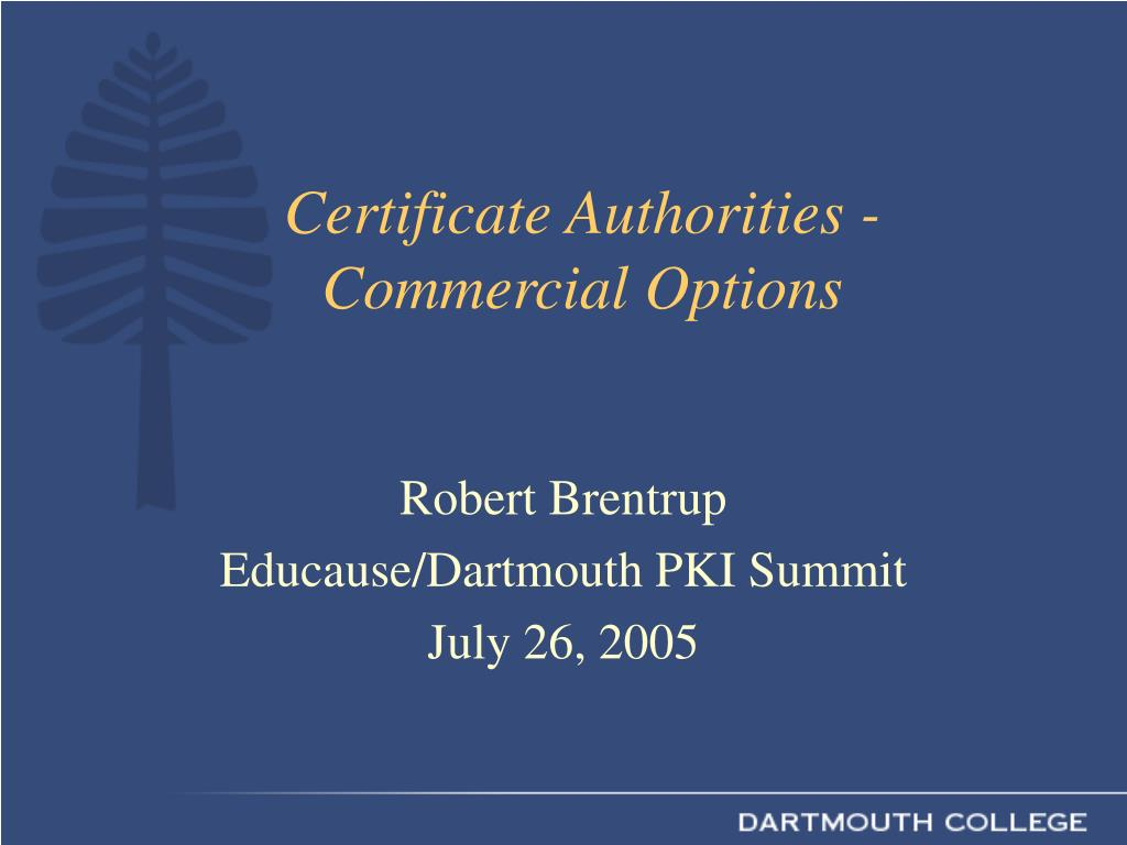 certificate authorities commercial options l.