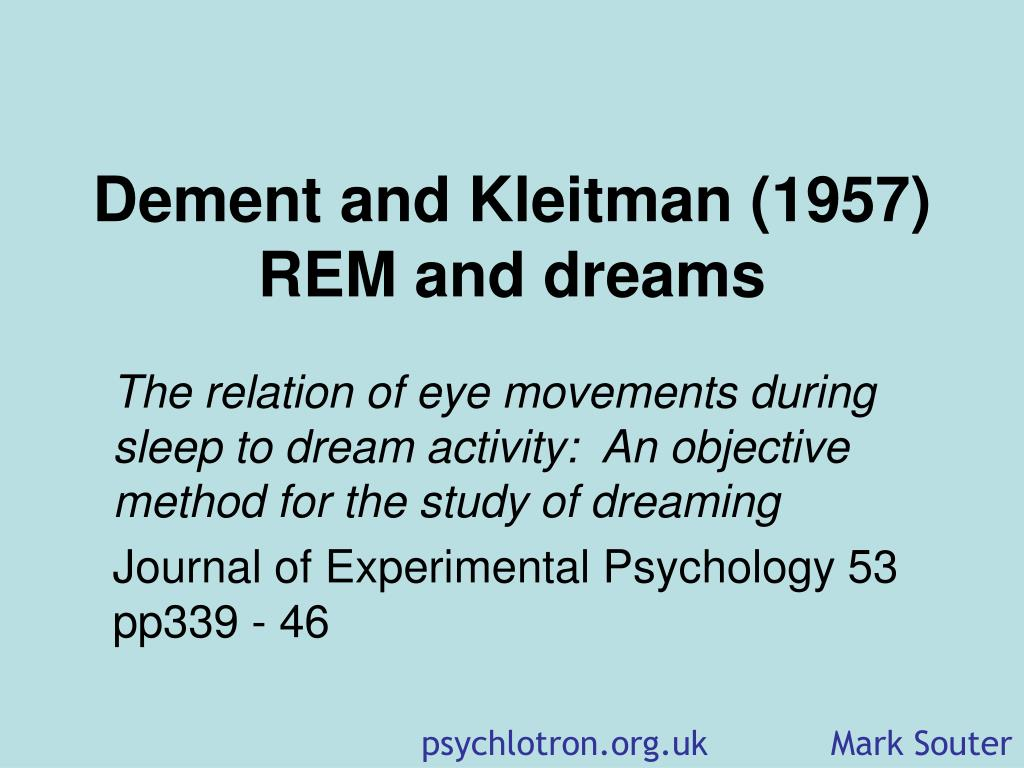 dement and kleitman 1957 rem and dreams l.