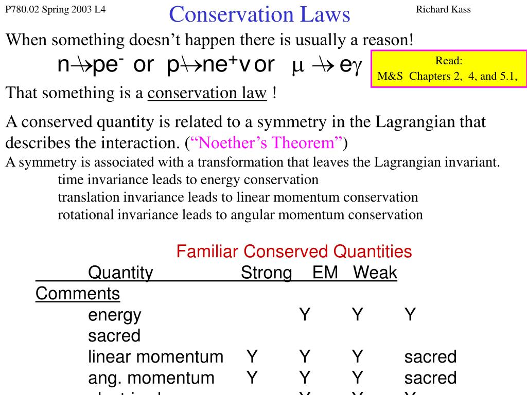 conservation laws l.