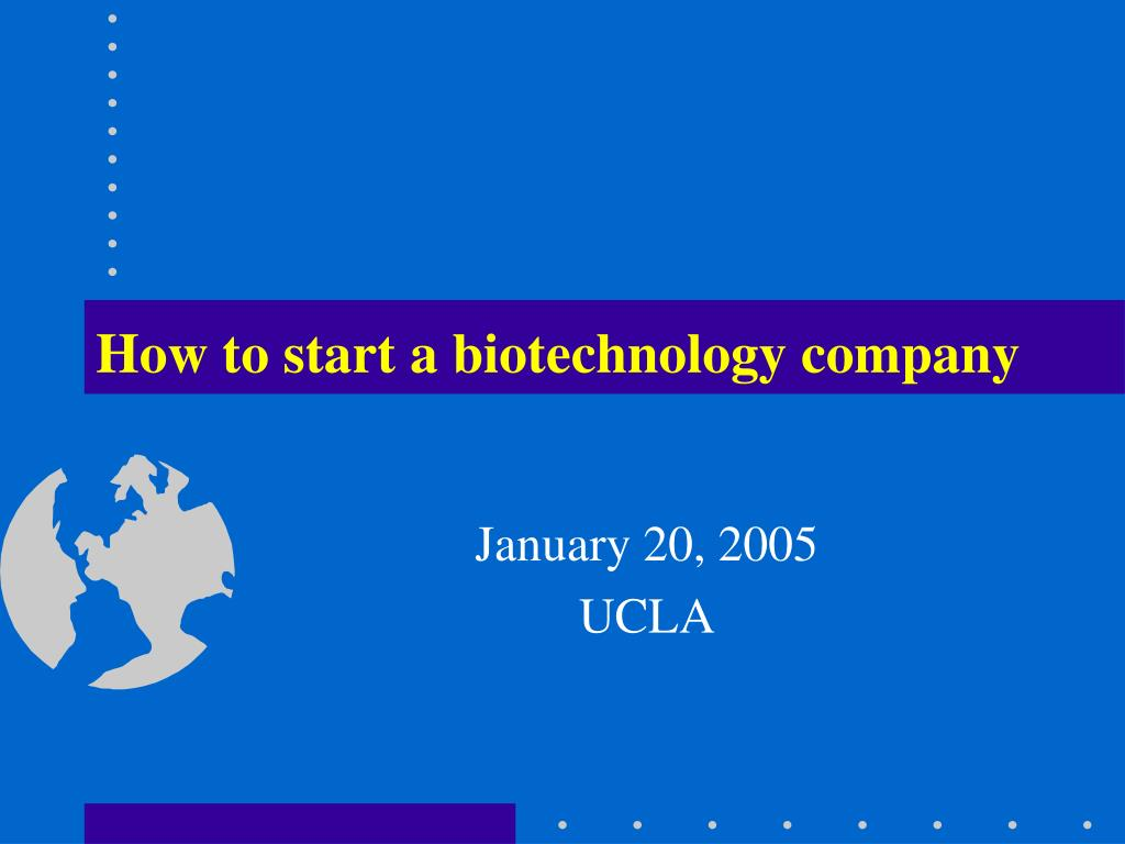 how to start a biotechnology company l.