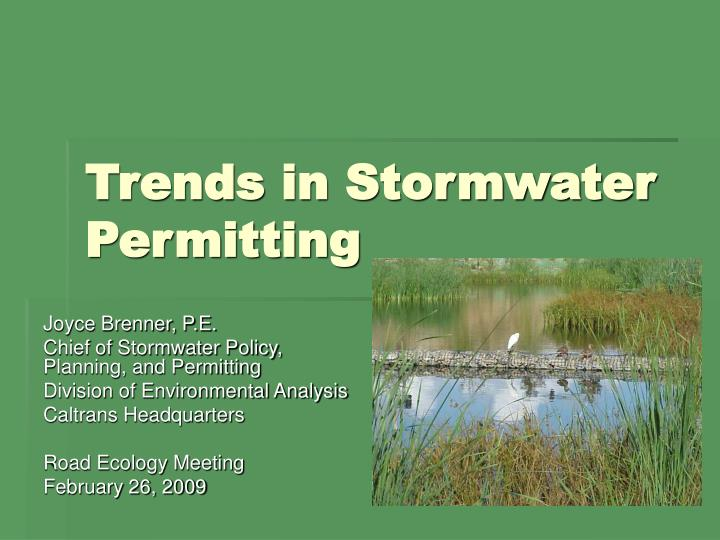 trends in stormwater permitting n.