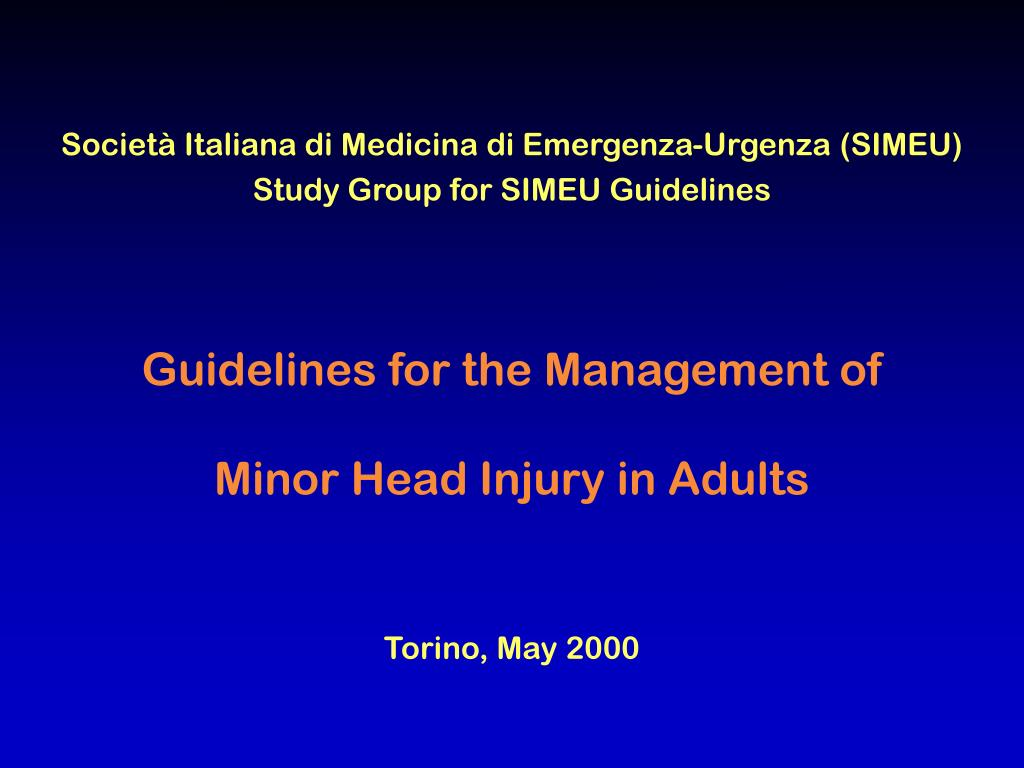 guidelines for the management of minor head injury in adults l.