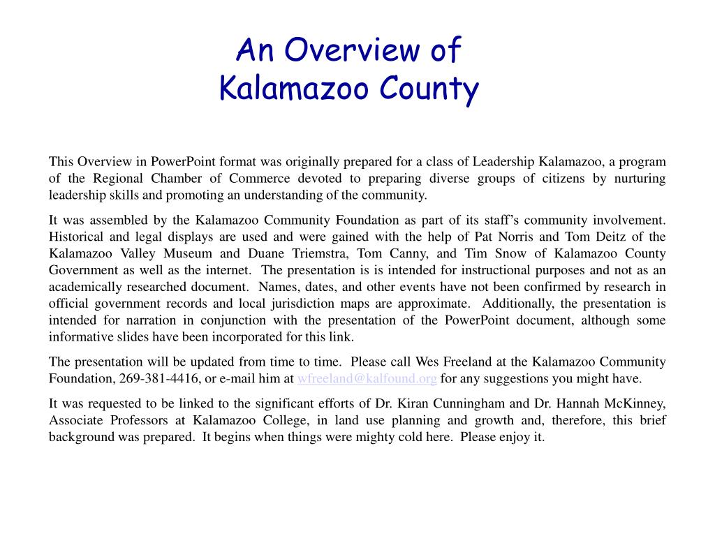 an overview of kalamazoo county l.