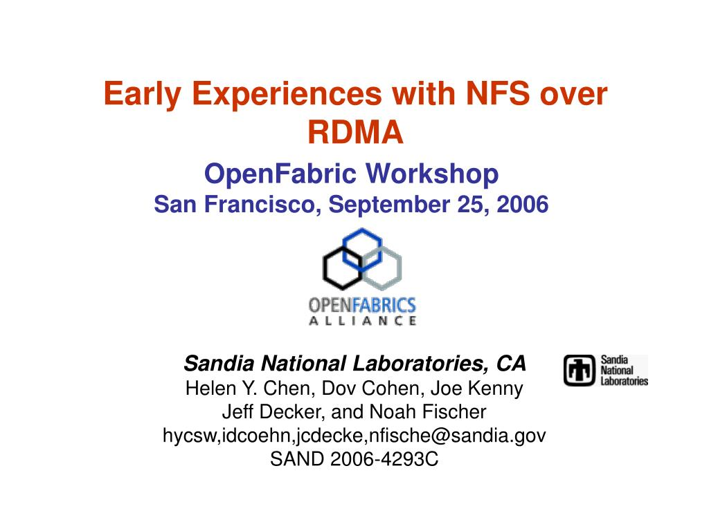 early experiences with nfs over rdma l.